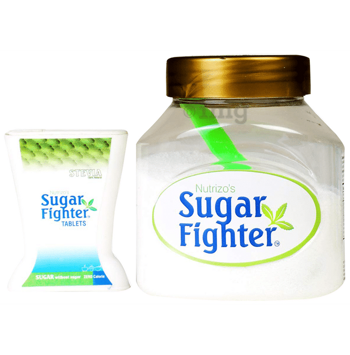 Nutrizo's Combo Pack of Sugar Fighter Stevia Powder 100gm and 100 Tablets