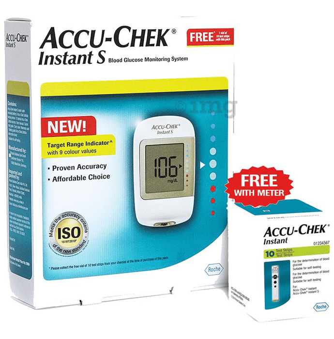 Accu-Chek Instant S Blood Glucometer with 10 Test Strips Free