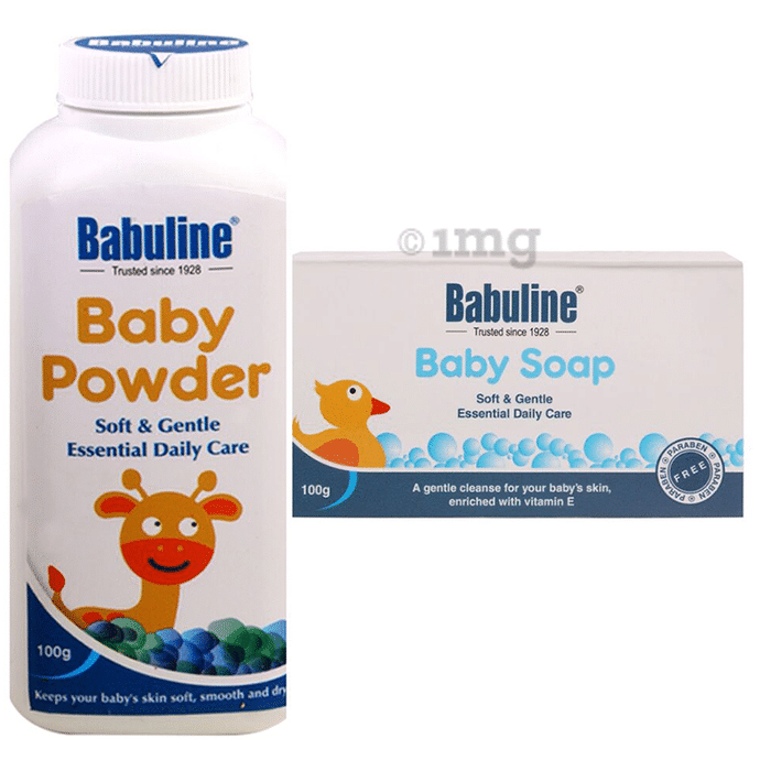 Babuline Combo Pack of Baby Powder 100gm (Pack of 2) & Baby Soap Travel 100gm (Pack of 2)