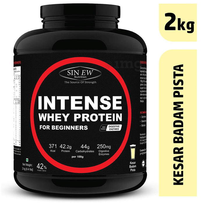 Sinew Nutrition Intense Whey Protein for Beginners with Digestive Enzymes Kesar Pista Badam