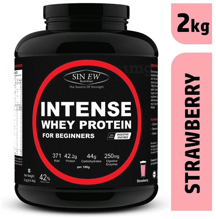 Sinew Nutrition Intense Whey Protein for Beginners with Digestive Enzymes Strawberry