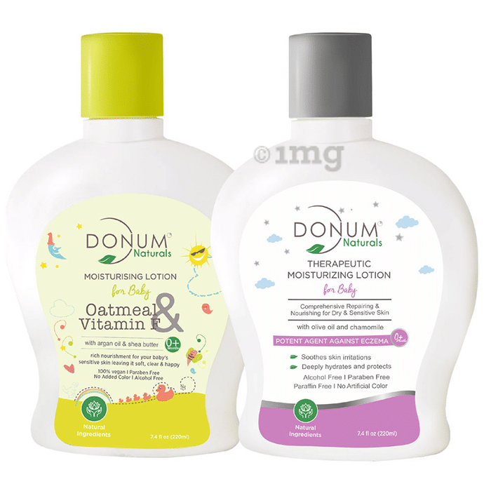 Donum Naturals Combo Pack of Oatmeal & Vitamin F Moisturising Lotion and Therapeutic Moisturizing Lotion for Baby