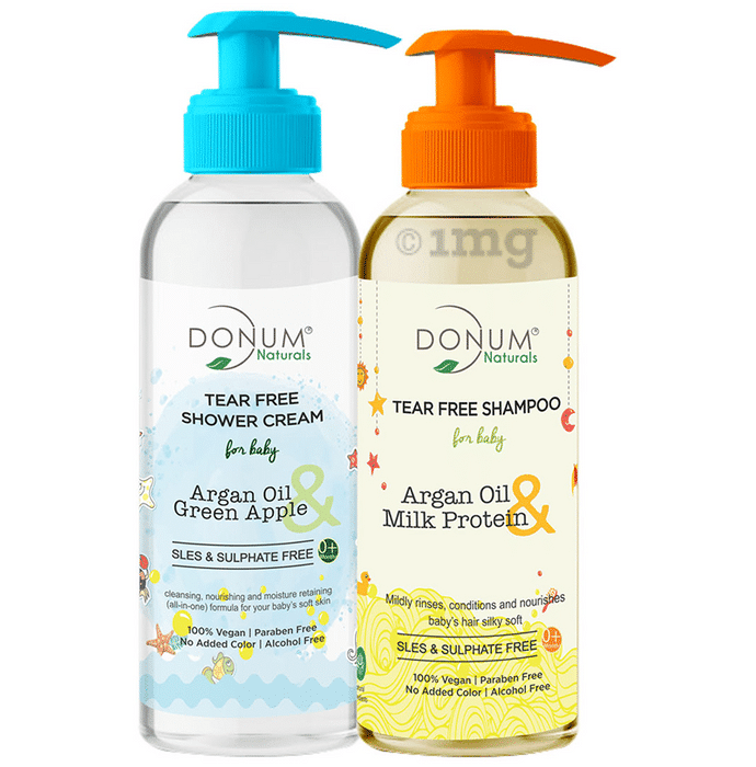 Donum Naturals Combo Pack of Tear Free Shower Cream & Tear Free Shampoo for Baby