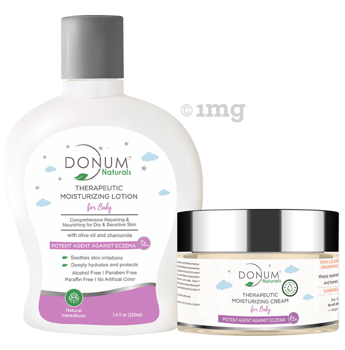 Donum Naturals Combo Pack of Therapeutic Moisturizing Lotion and Therapeutic Moisturizing Cream for Baby