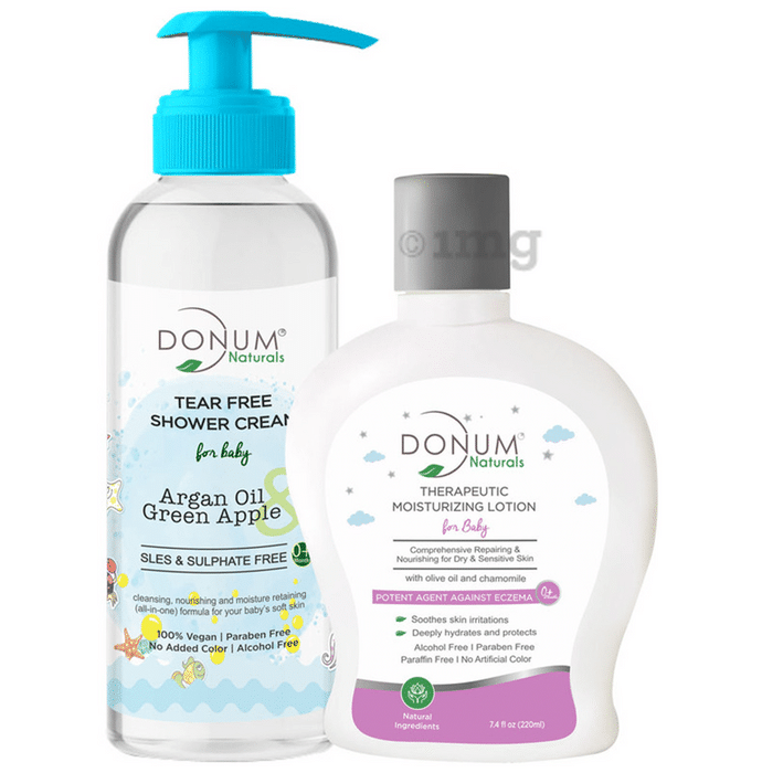 Donum Naturals Combo Pack of Tear Free Shower Cream and Therapeutic Body Moisturizing Lotion for Baby