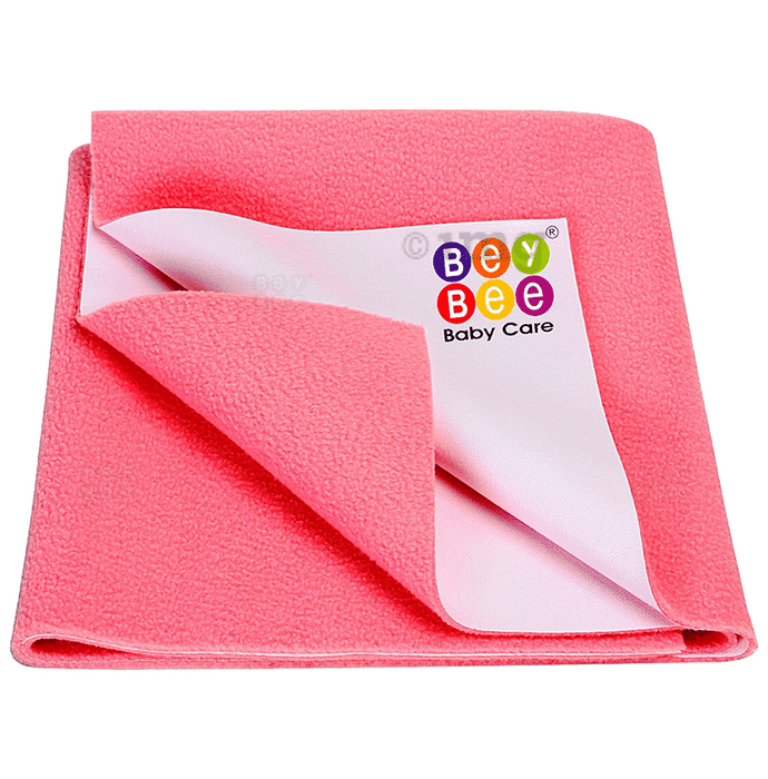 Bey Bee Waterproof Baby Bed Protector Dry Sheet for New Born Babies (70cm X 50cm) Small Salmon Rose
