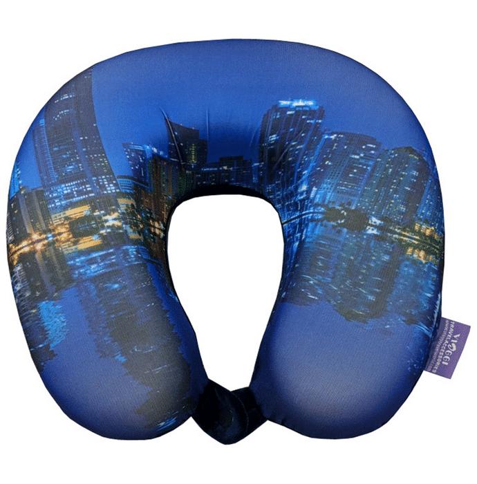 Viaggi Super Soft Memory Foam Neck Pillow City Blue