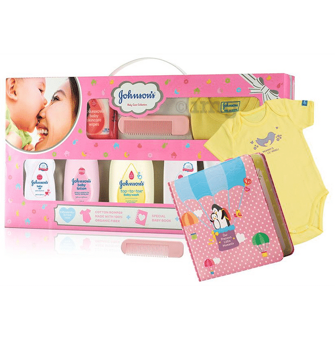 Johnson's Baby Care Collection Gift Box with Organic Cotton Bib - 10 Gift Items