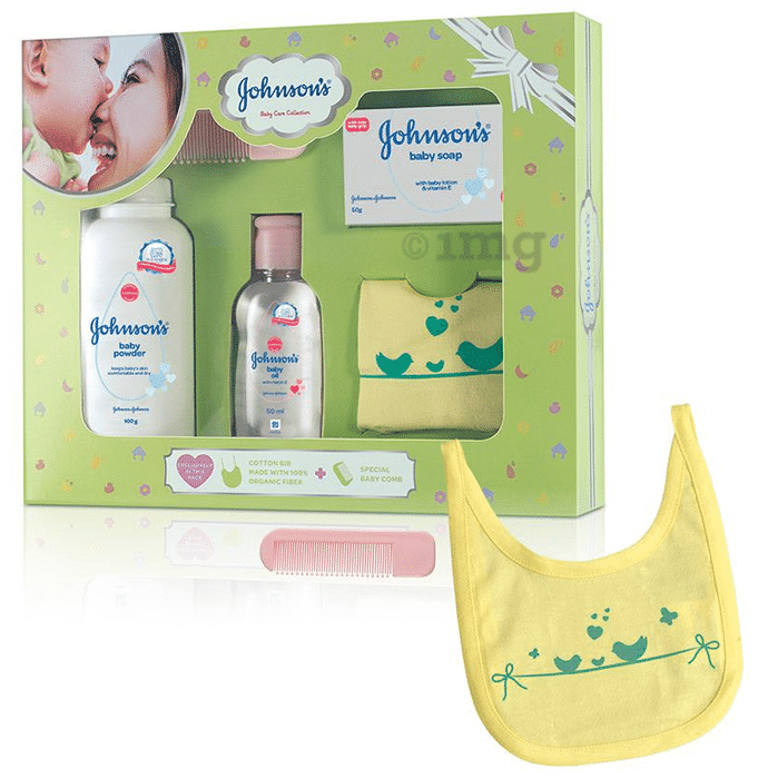 Johnson's Baby Care Collection Gift Box with Organic Cotton Bib & Baby Comb - 5 Gift Items