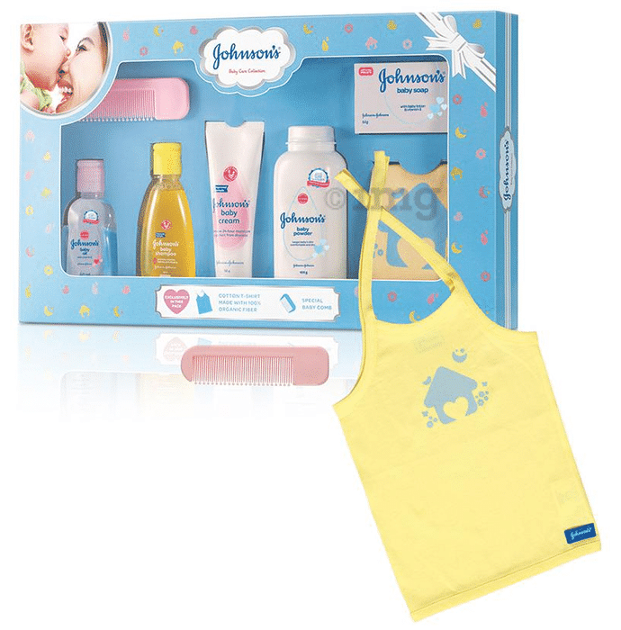 Johnson's Baby Care Collection Gift Box with Organic Cotton Baby T-Shirt - 7 Gift Items
