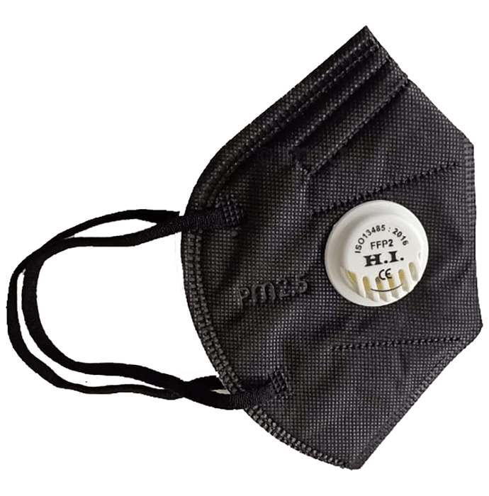 H.I. Black N95 PM2.5 Particulate Respirator Face Mask with Breathing Valve