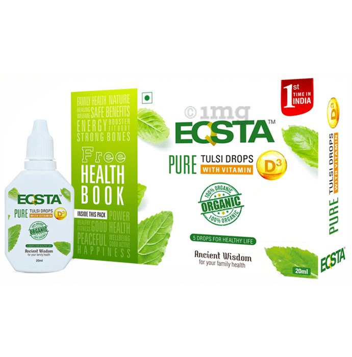 Eqsta Pure Tulsi Drop with Vitamin D3 with Health Book Free