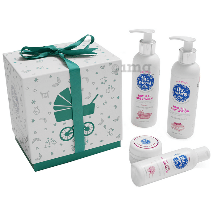 The Moms Co. Baby Must Have Ribbon Gift Box (Natural Baby Wash, Natural Baby Lotion, Natural Massage Oil, Natural Diaper Rash Cream)