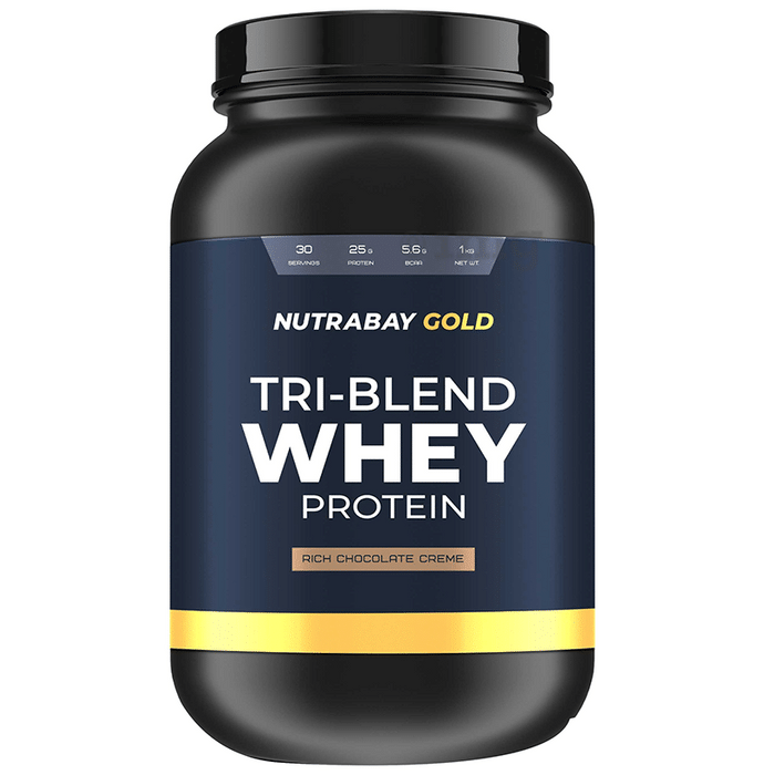 Nutrabay Gold Tri-Blend Whey Protein Rich Chocolate Creme