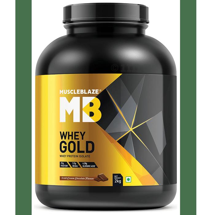 MuscleBlaze Whey Gold Whey Protein Isolate Only Powder Irish Cream Chocolate