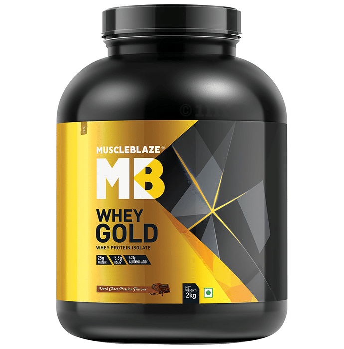 MuscleBlaze Whey Gold Whey Protein Isolate Only Powder Dark Choco Passion