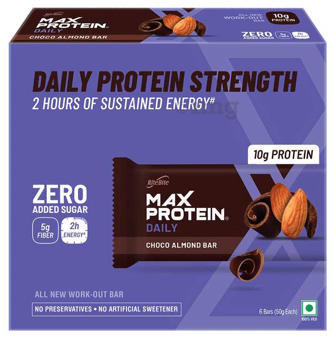 RiteBite Choco Almond Max Protein Daily Bar (50gm Each)