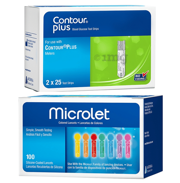 Glucose Test Strips and Lancet Combo Pack of Contour Plus Blood Glucose 50 Test Strip and Microlet Colored 100 Lancets