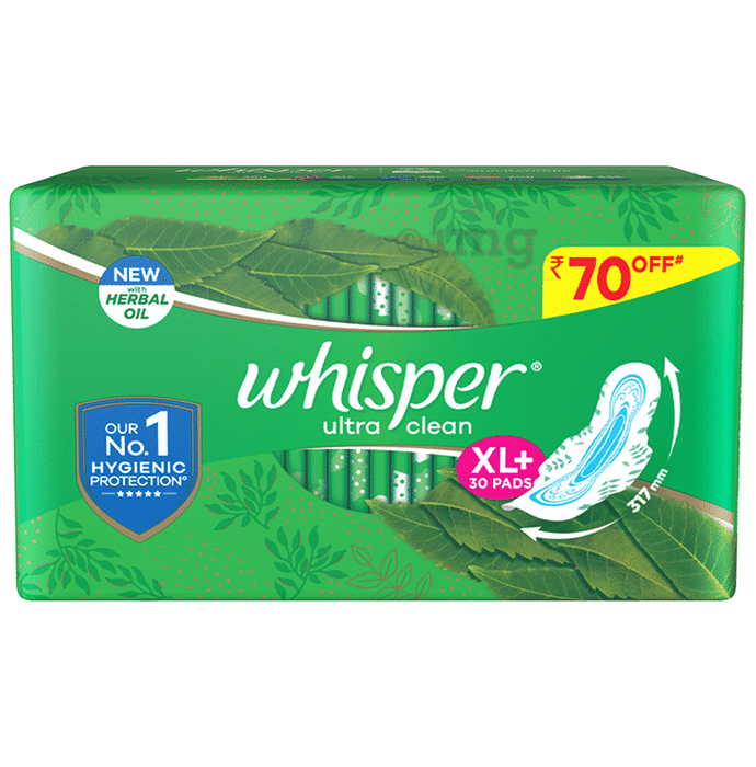 Whisper Ultra Clean with Herbal Oil Sanitary Pads XL+