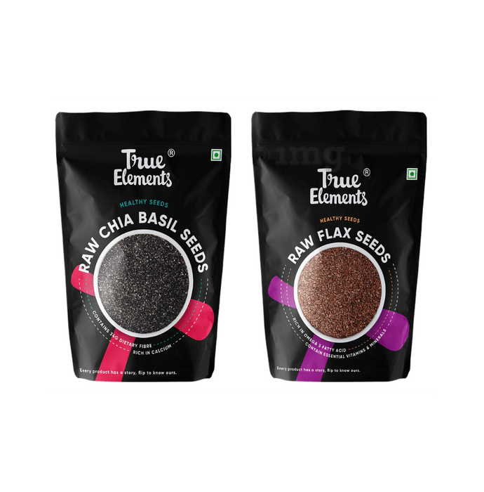True Elements Combo Pack of Raw Chia Basil Seeds 150gm and Raw Flax Seeds 250gm