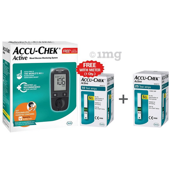 Accu-Chek Combo Pack of Active Blood Glucose Monitoring System with 10 Strip Free & Accu-Chek Active 25 Strip