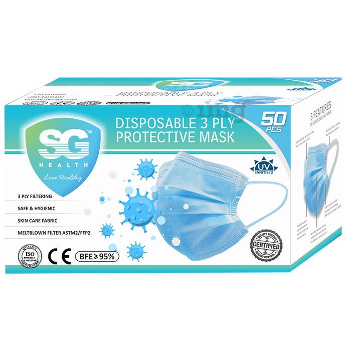 SG Health Disposable 3 Ply Protective Mask with Meltblown Filter