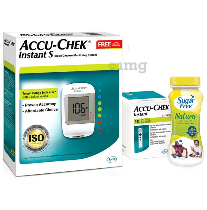 Accu-Chek Instant S Blood Glucose Monitoring System & 10 Test Strip with Sugar Free Natura 50gm Free