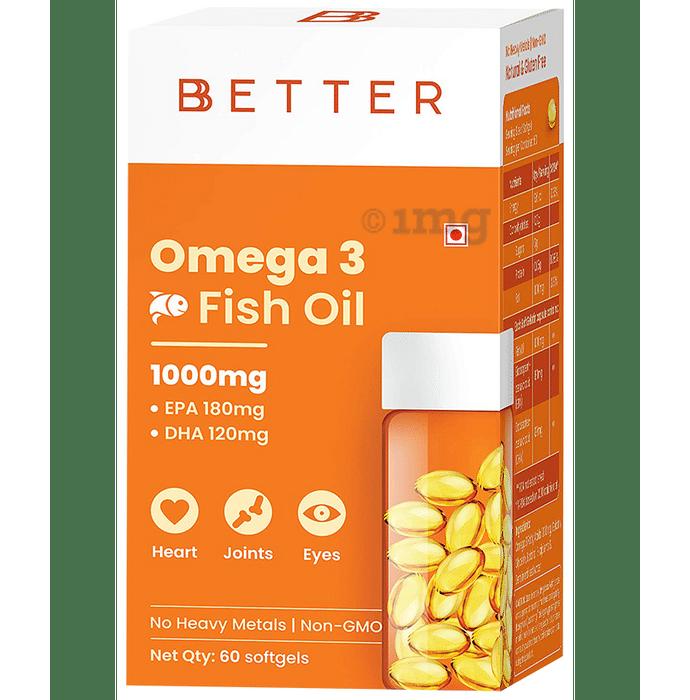 BBetter Omega 3 Fish Oil 1000mg Softgel