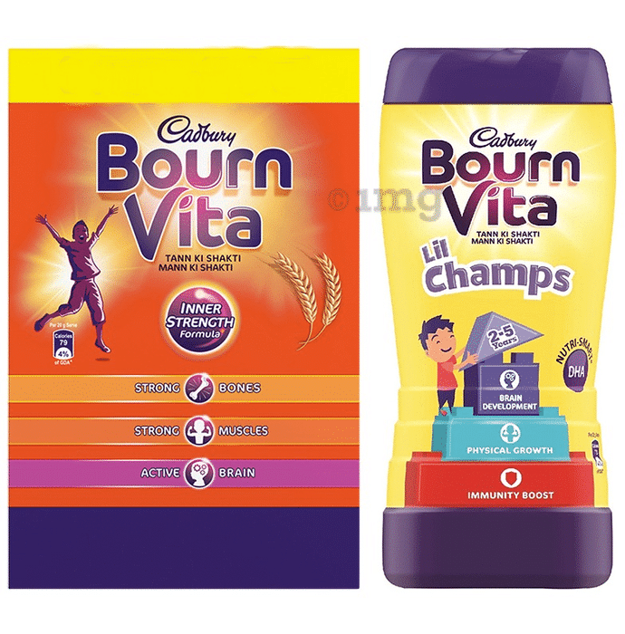 Cadbury Bournvita Combo Pack of Health Drink Refill 2kg & Lil Champs Pro-Health Drink Chocolate 200gm