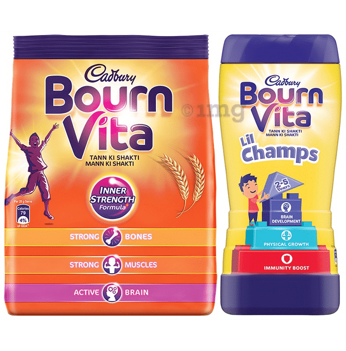 Cadbury Bournvita Combo Pack of Lil Champs Pro-Health Drink Chocolate & Health Drink Refill (500gm Each)