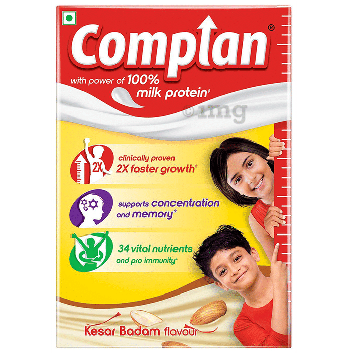 Complan Nutrition and Health Drink with Power of 100% Milk Protein Kesar Badam Refill
