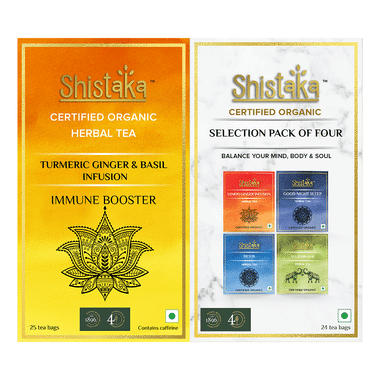 Shistaka Combo Pack of Certified Organic Herbal Tea (1.8gm Each) Selection Pack of Four & Turmeric Ginger & Basil Infusion